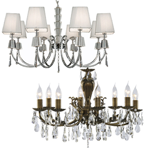 8 And 9 Arm Chandeliers