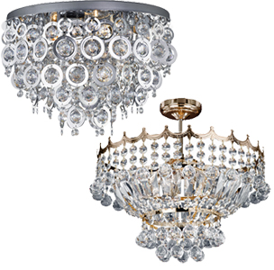 Crystal Glass Semi Flush Ceiling Lights