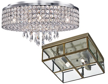 Flush Ceiling Lights Crystal And Glass