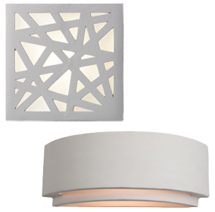 Paintable Unglazed Ceramic And Plaster Wall lights