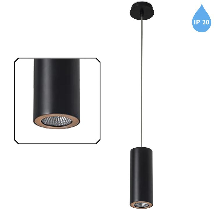 Leds C4 Pipe Ip20 Ceiling Pendant Light Matt Black