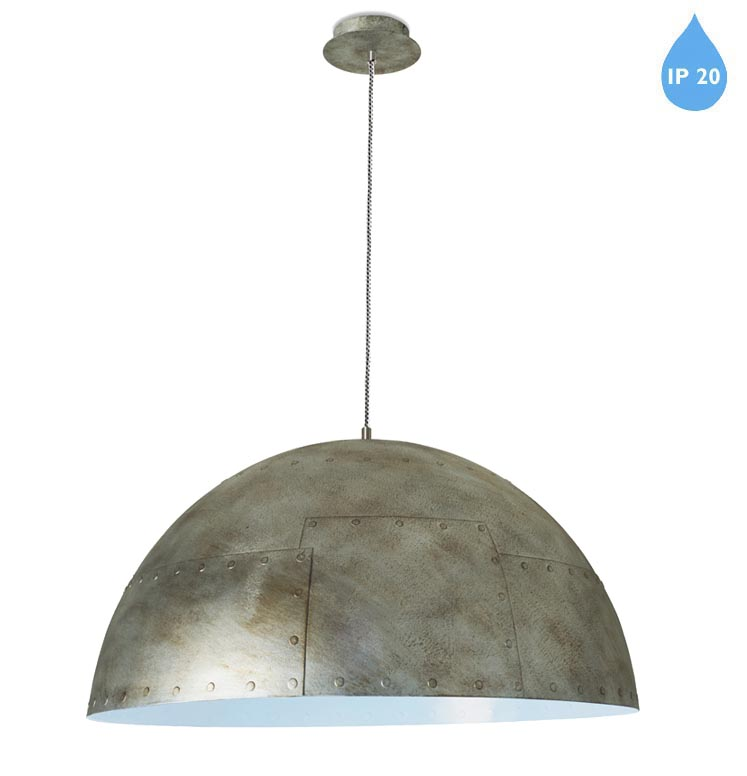 Led Rustic Light Blue Strapped Metal Pendant Light With Led: Leds C4 'Neo' IP20 Small Ceiling Pendant, Rustic Silver