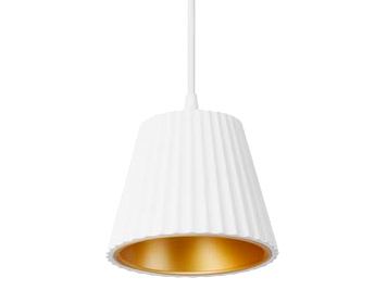 Leds C4 Cup LED Ceiling Pendant Light, White Finish With Golden Diffuser - 00-5362-14-23