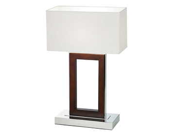 Endon Portal Table Lamp, Dark Wood Finish With Cream Faux Suede Shade - 0195-DW