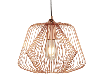 Searchlight Bell Cage 1 Light Pendant Light, Shiny Copper Finish - 0211CU