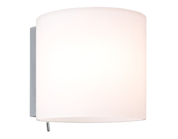 Astro Luga Switched Wall Light, Polished Chrome & White Glass Finish - 0411