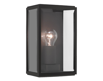 Astro Homefield 160 Outdoor Flush Wall Light, Black Finish With Clear Glass - 0483