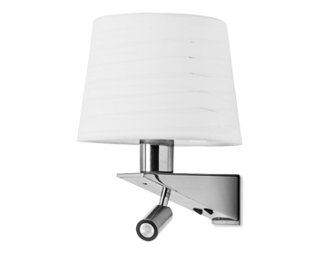 Leds C4 Gloss Decorative Wall Light With Reader Lamp, Satin Nickel & Chrome Finish - 05-2756-81-21