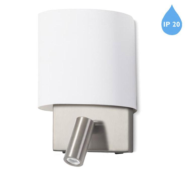 Leds C4 Rack IP20 LED 2 Light Wall Light With USB Charging Port, Satin Nickel Finish & White ...