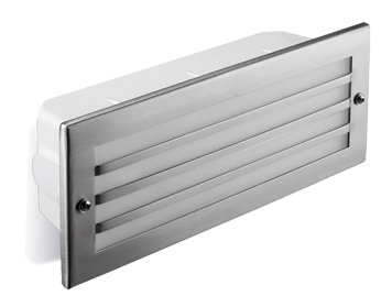Leds C4 Hercules LED AISI 316 3000K Grill Outdoor Recessed Wall Light, Polished Stainless Steel Finish - 05-9212-CA-CL