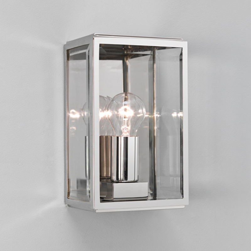 Astro homefield ip44 outdoor flush wall light with pir sensor astro homefield ip44 outdoor flush wall light polished nickel clear glass aloadofball Images