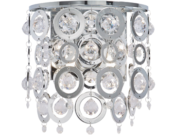Searchlight Nova 2 Light Wall Light, Chrome Finish With Clear Acrylic Balls & Chrome Acrylic Rings - 0572-2CC