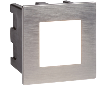 Searchlight Ankle Recessed Square LED Wall/Ceiling Light, Brushed Stainless Steel With Opal White Diffuser - 0761
