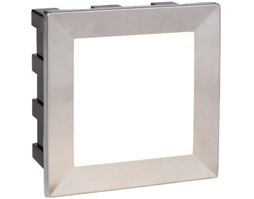Searchlight Ankle Recessed Square LED Wall/Ceiling Light, Stainless Steel With Opal White Diffuser - 0763