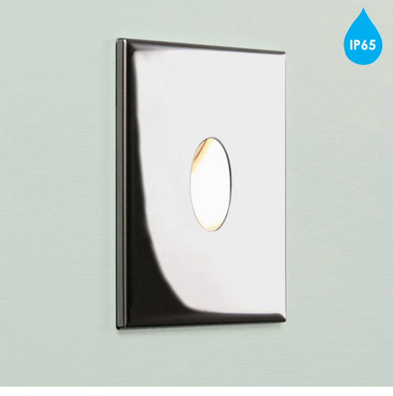 Square Chrome Wall Lights : Astro Tango IP65 2700k Square LED Wall Light, Polished Chrome - 7526 from Easy Lighting