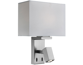 Searchlight Switched 1 Light Wall Light With Integrated LED Reading Lamp, Satin Silver Finish With White Fabric Shade - 0882SS