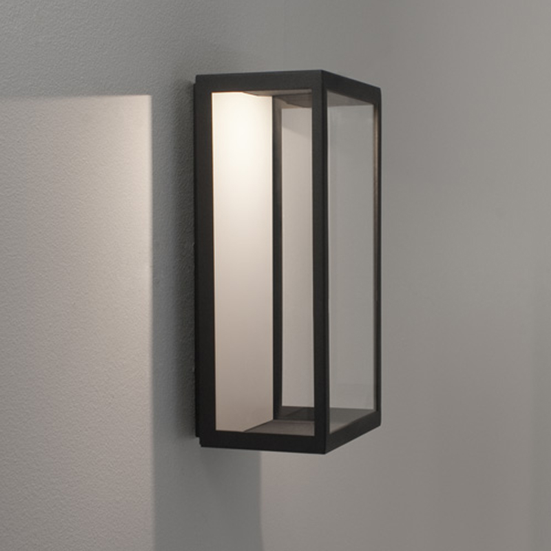 Astro Paros Frosted IP44 Outdoor Flush Wall Light, Black Finish & Frosted Glass - 7184 from ...