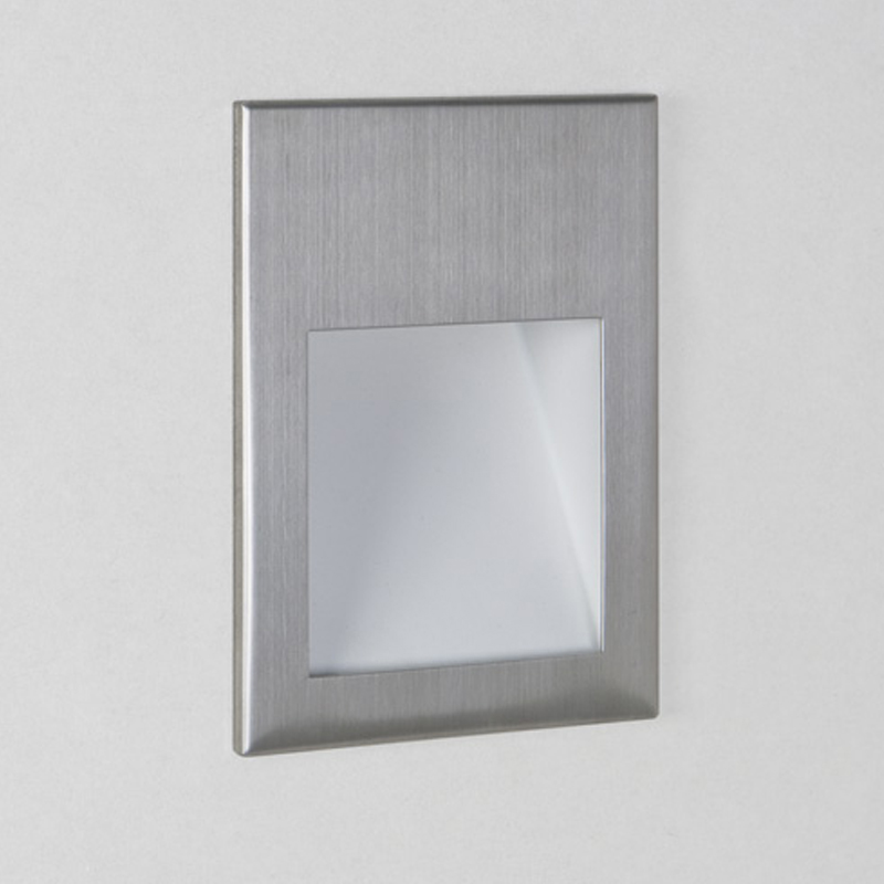 Astro Borgo 90 LED 2700k Recessed Wall Light, Brushed Stainless Steel - 7532