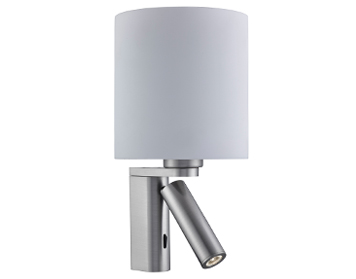 Searchlight 1 Light Switched Wall Light With Adjustable LED Reading Lamp, Satin Silver Finish With Glass Shade - 0991SS