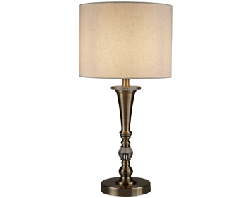 Searchlight Drum 1 Light Table Lamp, Antique Brass Finish With Oatmeal Linen Shade - 1011AB