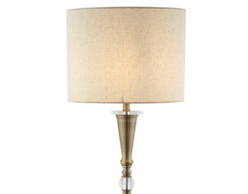 Searchlight Drum 1 Light Floor Lamp, Antique Brass Finish With Linen Shade - 1012AB