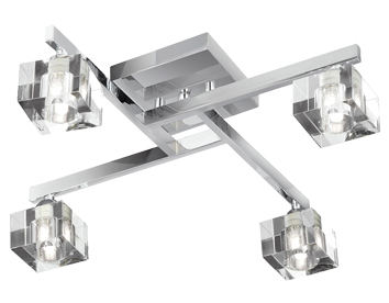 4 and 5 light flush ceiling lights from easy lighting searchlight ice cube glass 4 light flush ceiling light polished chrome finish 1014 aloadofball Choice Image