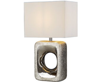 Searchlight Grange 1 Light Table Lamp, Silver Etched Base With White Shade - 1024CC