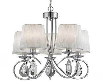 Searchlight Angelique 5 Light Ceiling Light, Chrome Finish With White Ruffled Shades - 1025-5CC