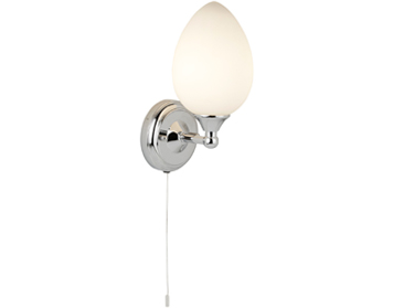 Searchlight Belvue 1 Light Switched Bathroom Wall Chrome Finish With Opal Glass Shade