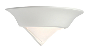 Endon 'Moon' 1 Light Wall Light, White Plaster & Frosted Glass - 10406