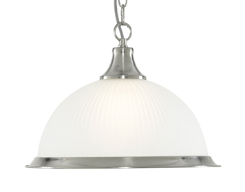 Searchlight American Diner 1 Light Ceiling Pendant Light, Satin Silver Finish With Opaque Ribbed Glass Shade - 1044
