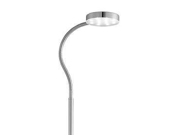 Searchlight Adjustable LED Round Head Floor Lamp, Satin Silver Finish - 1061SS