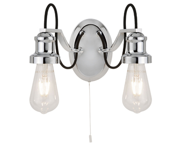 Searchlight Olivia 2 Light Double Wall Light, Chrome Finish With Black Braided Fabric Cable - 1062-2CC