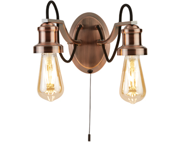 Searchlight Olivia 2 Light Double Wall Light, Antique Copper Finish With Black Braided Fabric Cable - 1062-2CU