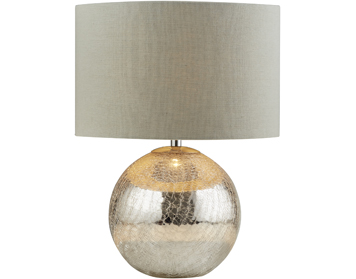 Searchlight Dazzle 1 Light Table Lamp, Cracked Mirror Effect Base With Grey Shade - 1065
