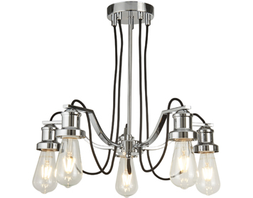 Searchlight Olivia 5 Light Ceiling Light, Chrome Finish With Black Braided Fabric Cable - 1065-5CC