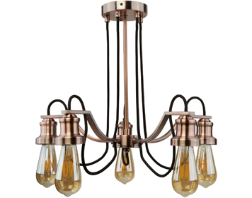Searchlight Olivia 5 Light Ceiling Antique Copper Finish With Black Braided Fabric Cable