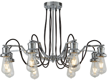 Searchlight Olivia 8 Light Ceiling Light, Chrome Finish With Black Braided Fabric Cable - 1068-8CC