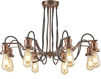 Searchlight Olivia 8 Light Ceiling Light, Antique Copper Finish With Black Braided Fabric Cable - 1068-8CU