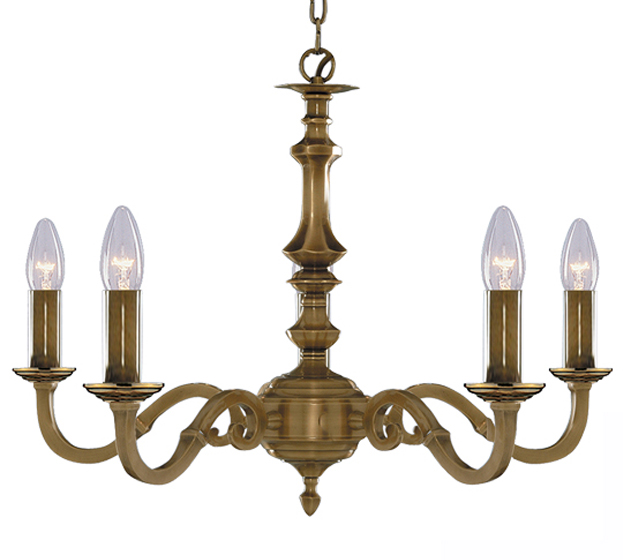 Searchlight Malaga 5 Light Antique Brass Ceiling Light