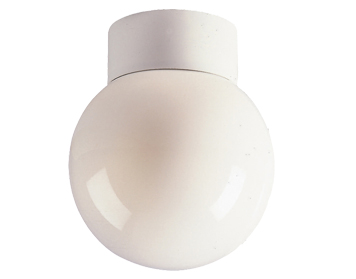 FIRSTLIGHT OPAL GLASS SPHERE FLUSH LIGHT WITH OPAL GLASS SHADE 1091WH