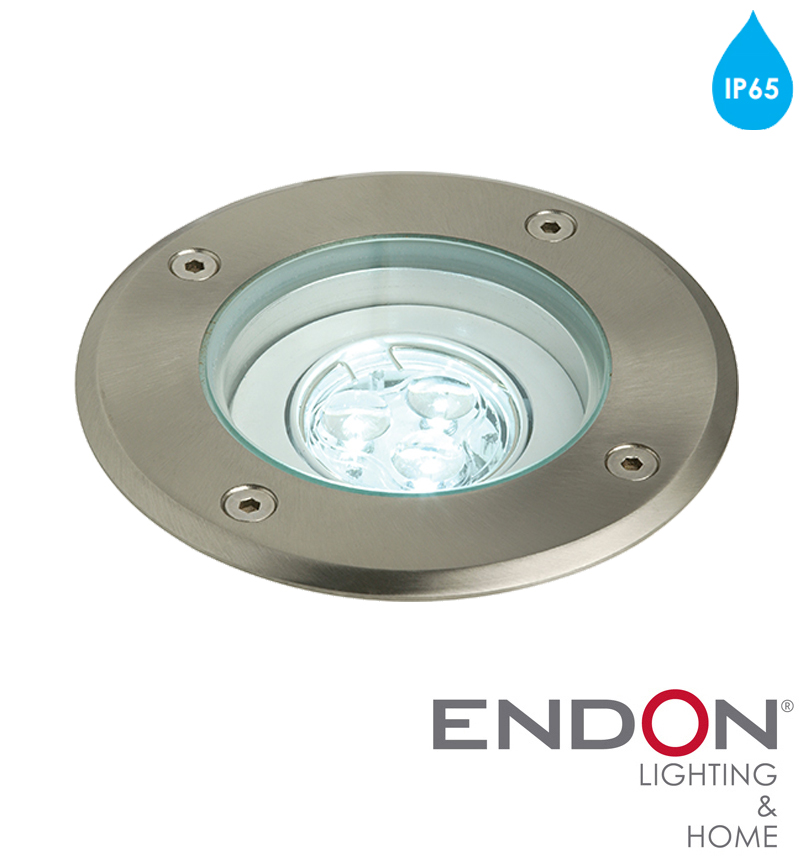 Endon Maxi IP65 LED Round Adjustable Recessed Ground Light Polished Stainless Steel