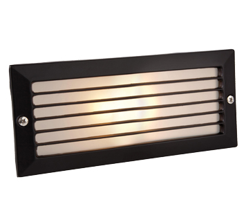 Outdoor recessed wall lights from easy lighting firstlight ip44 brick light with louvre black with opal glass 1121bk aloadofball Image collections