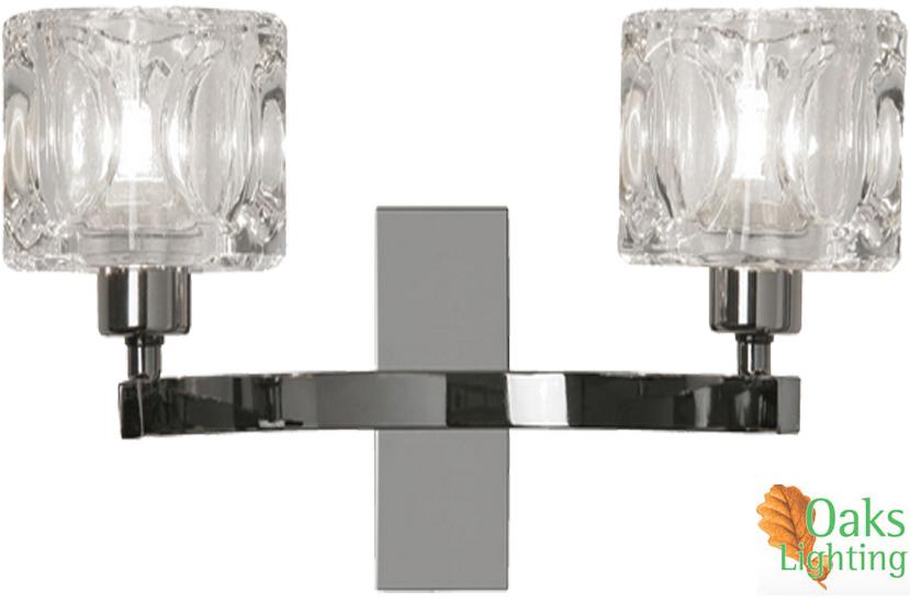 Twin Fixed Wall Lights : OAKS LIGHTING TAO TWIN WALL LIGHT, MIRROR BLACK - 1123/2 MB from Easy Lighting