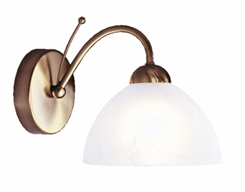 Searchlight Milanese 1 Light Wall Light, Antique Brass Finish With Alabaster Effect Glass - 1131-1AB