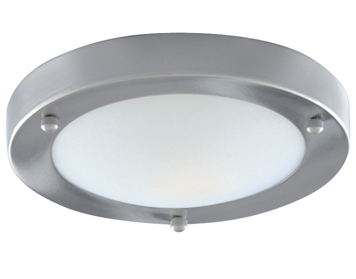 Searchlight 1 Light Flush Bathroom Ceiling Satin Silver Finish With Opal Glass