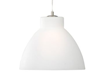 Searchlight 1 Light Pendant Ceiling Light, Satin Silver Finish with White Opal Glass Shade - 1172