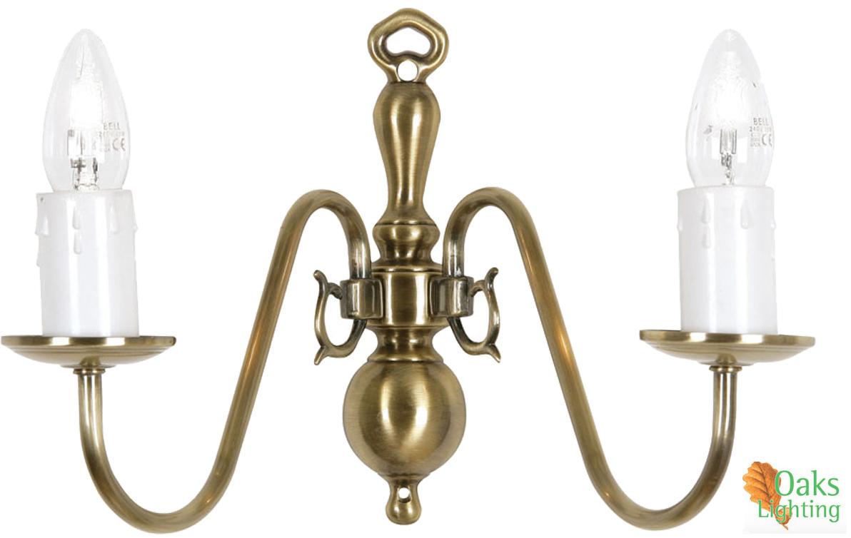 Oaks Lighting Flemish 2 Light Wall Light, Antique Brass - 1177/2 AB from Easy Lighting