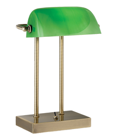 Searchlight Green Glass Bankers Lamp, Antique Brass - 1200AB
