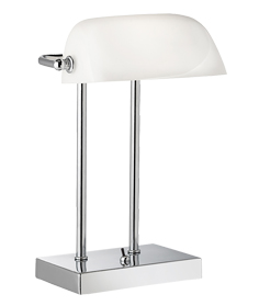Searchlight White Glass Bankers Lamp, Polished Chrome - 1200CC